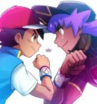 2boys ash_ketchum bangs baseball_cap black_hair blue_jacket bright_pupils brown_eyes champion_uniform clenched_hand closed_mouth commentary_request dark-skinned_male dark_skin dododo_dadada dynamax_band eye_contact face-to-face facial_hair hand_up hat jacket leon_(pokemon) long_hair looking_at_another male_focus multiple_boys pokemon pokemon_(anime) pokemon_swsh_(anime) purple_hair red_headwear shirt short_hair short_sleeves sleeveless sleeveless_jacket smile white_pupils yellow_eyes