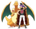 1boy argyle arm_up baseball_cap cape champion_uniform charizard claws closed_eyes closed_mouth crown dark-skinned_male dark_skin dynamax_band facial_hair fangs fangs_out fur-trimmed_cape fur_trim gen_1_pokemon gloves grin hand_on_hip hat hatted_pokemon highres leggings leon_(pokemon) long_hair male_focus morio_(poke_orio) partially_fingerless_gloves pokemon pokemon_(creature) pokemon_(game) pokemon_swsh purple_hair red_cape shield_print shirt shoes short_shorts short_sleeves shorts simple_background single_glove smile standing sword_print teeth white_background white_legwear white_shorts wristband