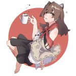 1girl animal_ear_fluff animal_ears bangs bare_shoulders barefoot black_shirt black_skirt blush brown_eyes brown_hair commentary_request cup eyebrows_visible_through_hair fringe_trim full_body highres kuro_kosyou long_hair looking_at_viewer mug original parted_lips pleated_skirt red_background ribbon_trim shirt skirt sleeveless sleeveless_shirt solo thick_eyebrows two-tone_background white_background