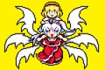 2girls :> alice_margatroid blonde_hair blue_dress blue_eyes capelet carrying closed_mouth dress eyebrows_visible_through_hair full_body grey_eyes hair_bobbles hair_ornament hairband kirai_shouen looking_at_viewer lowres medium_hair mother_and_daughter multiple_girls multiple_wings one_side_up open_mouth pixel_art red_dress red_hairband shinki_(touhou) short_hair shoulder_carry simple_background smile touhou touhou_(pc-98) v-shaped_eyebrows white_capelet white_hair white_wings wings yellow_background