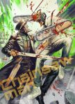 2boys absurdres black_neckwear blood chainsaw_man character_name collared_shirt copyright_name denji_(chainsaw_man) dress_shirt fighting highres katana_man_(chainsawman) knife kusarebon multiple_boys necktie pants shirt shoes sleeves_rolled_up sneakers white_footwear white_shirt wing_collar