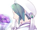 1boy badge bouquet character_print commentary_request eyes_visible_through_hair flower gen_3_pokemon gloves green_eyes green_hair hand_up hat looking_at_viewer looking_back male_focus milotic parted_lips pokemon pokemon_(game) pokemon_oras portrait purple_flower short_hair smile solo tudurimike wallace_(pokemon) white_gloves white_headwear