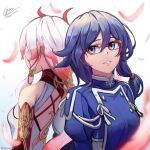 2girls absurdres back bangs bare_shoulders black_hair blue_eyes blue_jacket china_dress chinese_clothes cruzvu dress dual_persona elbow_gloves feathers fu_hua fu_hua_(phoenix) fu_hua_(valkyrie_accipter) glasses gloves hair_between_eyes hair_ornament highres honkai_(series) honkai_impact_3rd huge_filesize jacket long_hair long_sleeves looking_to_the_side multicolored_hair multiple_girls ponytail red_gloves simple_background sleeveless smile streaked_hair teeth white_background white_dress white_hair