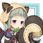 1girl animal_ears animal_hood bangs black_gloves black_sleeves blue_shirt blush cen_(cenll) closed_mouth commentary_request detached_sleeves fake_animal_ears fingerless_gloves genshin_impact gloves grey_hair hands_up highres hood leaf long_sleeves looking_at_viewer mouth_hold raccoon_ears raccoon_hood raccoon_tail sayu_(genshin_impact) shirt short_sleeves shuriken solo tail upper_body violet_eyes