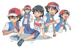 1boy ash_ketchum bangs baseball_cap black_hair blue_jacket brown_eyes bubble commentary_request dododo_dadada grin hair_between_eyes hand_on_headwear hand_on_hip hat holding holding_poke_ball jacket male_focus multiple_views open_mouth outstretched_arms parted_lips poke_ball pokemon pokemon_(anime) pokemon_swsh_(anime) red_headwear shirt shoes short_sleeves shorts sleeveless sleeveless_jacket smile t-shirt teeth tongue upper_teeth wet white_shirt |d