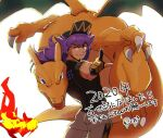 1boy bangs baseball_cap blue_eyes bright_pupils champion_uniform charizard claws closed_mouth commentary_request dark-skinned_male dark_skin facial_hair fire flame gen_1_pokemon gloves green_eyes hat highres leggings leon_(pokemon) long_hair looking_at_viewer looking_back male_focus morio_(poke_orio) partially_fingerless_gloves pointing pokemon pokemon_(creature) pokemon_(game) pokemon_swsh purple_hair short_shorts short_sleeves shorts smile translation_request white_background white_legwear white_pupils white_shorts yellow_eyes