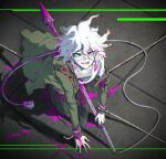 1boy arm_support bangs blood bloody_clothes bloody_weapon brown_pants chain collarbone danganronpa_(series) danganronpa_2:_goodbye_despair english_commentary eyebrows_visible_through_hair from_above green_jacket hair_between_eyes holding impaled jacket komaeda_nagito long_sleeves looking_at_viewer looking_up male_focus messy_hair off_shoulder pants pink_blood rope shirt smile solo weapon white_hair white_shirt wire yandr4hope