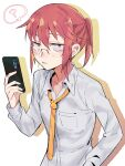 1girl ? absurdres breast_pocket cellphone collarbone collared_shirt commentary expressionless glasses halftone halftone_background highres holding holding_phone kobayashi-san_chi_no_maidragon kobayashi_(maidragon) long_hair long_sleeves looking_at_viewer necktie open_collar parted_lips phone pocket ponytail red_eyes redhead shadow shirt smartphone solo spoken_question_mark takao_(88499191) upper_body white_background white_shirt yellow_neckwear