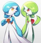 2girls alternate_color bangs black_choker blue_hair blue_skin blush bob_cut choker closed_mouth colored_eyelashes colored_skin commentary cowboy_shot eyebrows_visible_through_hair flat_chest gardevoir gen_3_pokemon gradient gradient_background green_hair green_skin grey_background hair_over_one_eye hand_up happy lace lace_choker looking_at_viewer lotosu mega_stone multicolored multicolored_skin multiple_girls orange_eyes pokemon pokemon_(creature) red_eyes shiny shiny_hair shiny_pokemon short_hair simple_background smile standing symmetry two-tone_skin white_choker white_skin