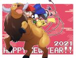 1boy 2021 ash_ketchum backwards_hat bangs baseball_cap blue_jacket commentary_request fingerless_gloves gen_1_pokemon gloves green_gloves happy_new_year hat jacket male_focus morio_(poke_orio) new_year open_mouth outline pants pikachu pokemon pokemon_(anime) pokemon_(classic_anime) pokemon_(creature) red_headwear riding riding_pokemon shoes short_hair short_sleeves spiky_hair sweatdrop tauros tongue