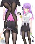 2girls :o amane_kanata bangs black_footwear black_legwear black_ribbon black_skirt blush bottle breasts cellphone clothes_around_waist clothes_lift collared_shirt demon_tail eyebrows_visible_through_hair from_behind green_eyes grey_jacket hair_ornament hair_ribbon hairclip highres holding holding_bottle holding_phone hololive jacket jacket_around_waist k_mugura lifted_by_another long_hair looking_at_viewer lower_body mary_janes multicolored_hair multiple_girls multiple_views nail_polish neck_ribbon open_mouth panties panties_under_pantyhose panty_peek pantyhose pantyshot phone piercing pink_hair pleated_skirt polka_dot polka_dot_panties purple_hair purple_panties ribbon school_uniform shirt shirt_tucked_in shoes short_sleeves side_bun simple_background skirt skirt_lift small_breasts smartphone star_(symbol) star_hair_ornament tail thighband_pantyhose tokoyami_towa two-tone_hair two-tone_neckwear underwear virtual_youtuber water_bottle white_background white_hair white_shirt wrist_cuffs x_hair_ornament