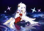 1girl absurdres bare_shoulders blue_eyes bpff closed_mouth full_body hair_ornament hand_on_own_chin highres honkai_(series) honkai_impact_3rd looking_at_viewer night night_sky outdoors sitting sitting_on_water sky smile solo star_(sky) star_(symbol) theresa_apocalypse theresa_apocalypse_(celestial_hymn) thigh-highs toes veil water white_hair white_legwear white_sleeves
