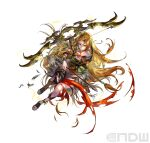 1girl absurdres arrow_(projectile) blonde_hair bow_(weapon) braid circlet damaged earrings fingerless_gloves fire_emblem fire_emblem:_genealogy_of_the_holy_war fire_emblem_heroes full_body fur_trim gladiator_sandals gloves hand_up highres holding holding_bow_(weapon) holding_weapon hoop_earrings jewelry long_hair necklace official_art sandals shiny simple_background single_thighhigh suzuki_rika thigh-highs thighs toeless_footwear torn_clothes ullr_(fire_emblem) very_long_hair weapon white_background yellow_eyes yewfelle_(fire_emblem)