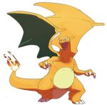 charizard claws commentary_request fangs fire flame full_body gen_1_pokemon green_eyes highres legs_apart morio_(poke_orio) no_humans open_mouth pokemon pokemon_(creature) solo standing tongue