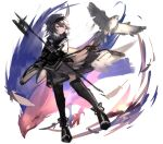 1girl ahoge animal arknights beret bird black_cape black_headwear black_legwear brown_hair cape commentary_request elite_ii_(arknights) falcon feathers hair_between_eyes halberd hat highres holding holding_polearm holding_weapon multicolored_hair orange_eyes plume_(arknights) polearm sasa_onigiri sketch solo thigh-highs two-tone_hair weapon white_background white_hair