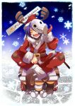 1boy :d alternate_costume antlers bandaged_chest bandaged_neck bangs boots christmas coat commentary_request emon-yu full_body genetic_(ragnarok_online) gloves hair_between_eyes hat indian_style looking_at_viewer male_focus mask mask_on_head open_mouth pants pullcart purple_hair ragnarok_online red_coat red_pants santa_costume santa_hat sharp_teeth signature single_glove sitting smile snowflakes snowing solo teeth tentacles translation_request white_gloves yellow_eyes
