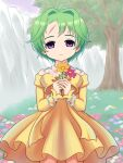 1girl aira_(grandia) bow bracelet closed_mouth cowboy_shot dress empty_eyes expressionless flower grandia grandia_ii green_hair hair_intakes holding holding_flower inumaru75707951 jewelry legs_apart looking_at_viewer outdoors scar short_hair solo standing tree violet_eyes yellow_bow yellow_dress
