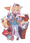 1girl :o animal_ears bag bangs black_footwear blue_eyes bow bowtie commentary_request detached_sleeves flag food fox_ears fox_girl fox_tail full_body hair_ornament hairclip handbag highres holding holding_flag lampion light_brown_hair long_hair looking_at_viewer mary_janes multiple_tails obentou original pantyhose ribbon shindou_kamichi shoes sidelocks simple_background solo standing suitcase tail thick_eyebrows translation_request white_background white_legwear wide_sleeves