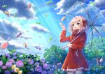 1girl :d bangs blue_flower blue_sky blurry blurry_foreground blush bow brown_hair candy clouds cloudy_sky coat commentary_request day depth_of_field eyebrows_visible_through_hair falling flower food green_eyes hair_bow hand_up holding holding_umbrella hydrangea light_rays lollipop long_sleeves looking_away looking_up mizuki_(lvo0x0ovl) open_mouth original outdoors pocket polka_dot purple_flower rainbow raincoat red_bow red_coat shiny shiny_hair short_hair sidelocks sky smile solo sparkle standing sunlight symbol_commentary transparent transparent_umbrella tree umbrella zipper zipper_pull_tab