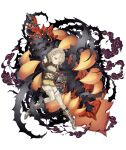 1girl armor armored_boots belt blonde_hair boots briar_rose_(sinoalice) flat_chest full_body gauntlets half-closed_eyes huge_weapon ji_no looking_at_viewer official_art one_eye_closed single_gauntlet sinoalice smoke solo stuffed_toy sword thigh-highs thorns transparent_background weapon yellow_eyes