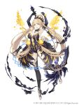 1girl aqua_eyes black_dress black_gloves blonde_hair bracelet breasts chain dress elbow_gloves eyebrows_visible_through_hair feather_dress full_body gloves highres jewelry ji_no large_breasts long_hair looking_at_viewer necklace official_art parted_lips petals rapunzel_(sinoalice) sinoalice smoke solo square_enix thigh-highs very_long_hair white_background