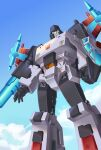 blue_eyes clenched_hand clouds decepticon highres insignia lantana0_0 looking_at_viewer mecha mechanical_wings megatron megatron_(shattered_glass) no_humans open_hand science_fiction sky smile solo transformers transformers_shattered_glass wings