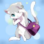 :3 arm_up bag blue_background cat chi_yuraumi commentary_request earrings green_eyes grey_fur highres jewelry looking_at_viewer no_humans one_eye_closed puck_(re:zero) purple_bag re:zero_kara_hajimeru_isekai_seikatsu smile solo
