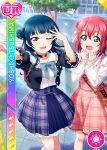 blue_hair blush character_name dress kurosawa_ruby long_hair love_live!_school_idol_festival love_live!_sunshine!! pink_eyes smile tsushima_yoshiko wink