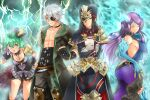 blue_fire breasts brighid_(xenoblade) chuunibyou closed_eyes curvy dress elbow_gloves eyepatch fiery_hair fire gloves highres large_breasts long_hair morag_ladair_(xenoblade) pandoria_(xenoblade) purple_dress purple_hair shiroxai thigh-highs very_long_hair xenoblade_chronicles_(series) xenoblade_chronicles_2 zeke_von_genbu_(xenoblade)