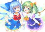 2girls :d adapted_costume ascot bangs blue_bow blue_dress blue_eyes blue_hair blush bow bowtie brooch bucchake_(asami) choker cirno collarbone commentary_request contrapposto cowboy_shot daiyousei dress elbow_gloves eyebrows_visible_through_hair fairy_wings flat_chest frilled_shirt_collar frills gloves green_eyes green_hair hair_bow hand_on_hip holding_hands ice ice_wings jewelry looking_at_viewer multiple_girls one_side_up open_mouth orange_bow orange_choker orange_neckwear petticoat puffy_short_sleeves puffy_sleeves red_bow red_neckwear short_hair short_sleeves simple_background smile star_(symbol) starry_background touhou v-shaped_eyebrows white_background white_gloves wings
