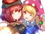 2girls bangs bare_shoulders black_choker black_headwear black_neckwear blonde_hair blue_shirt blue_sleeves breasts chain choker closed_mouth clothes_writing clownpiece eyebrows_visible_through_hair eyes_visible_through_hair gold_chain grey_shirt grey_sleeves hair_between_eyes hat hecatia_lapislazuli highres jester_cap light long_hair medium_breasts moon_(ornament) mozuno_(mozya_7) multicolored multicolored_clothes multicolored_shirt multiple_girls off_shoulder one_eye_closed open_mouth pink_eyes pink_headwear polos_crown red_eyes red_headwear red_shirt redhead shirt short_hair short_sleeves simple_background smile star_(symbol) star_print striped striped_shirt t-shirt touhou white_background white_shirt