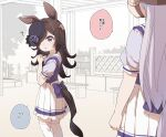 ? animal_ears blue_headwear blush bow brown_hair bug commentary_request eyebrows_visible_through_hair gold_ship_(umamusume) hair_over_one_eye hat hat_bow headgear highres horse_ears horse_girl horse_tail insect long_hair looking_at_another pleated_skirt puffy_short_sleeves puffy_sleeves purple_bow purple_shirt rice_shower_(umamusume) school_uniform shirt short_sleeves skirt tail tail_bow tail_ornament thigh-highs tilted_headwear tracen_school_uniform translation_request umamusume violet_eyes white_hair white_skirt yukie_(kusaka_shi) zettai_ryouiki