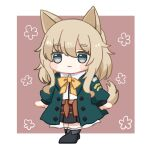 1girl animal_ears arknights bangs black_footwear black_skirt blue_eyes blush_stickers boots bow brown_background brown_hair chibi closed_mouth collared_shirt dog_ears dog_girl dog_tail dress_shirt eyebrows_visible_through_hair full_body green_jacket hair_between_eyes jacket long_hair long_sleeves open_clothes open_jacket pleated_skirt podenco_(arknights) puffy_long_sleeves puffy_sleeves shirt skirt smile solo someyaya standing tail thick_eyebrows two-tone_background white_background white_shirt yellow_bow