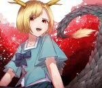 1girl bangs blonde_hair blue_bow blue_shirt blue_skirt blue_sleeves bow brown_background dragon_tail eyebrows_visible_through_hair eyes_visible_through_hair hair_between_eyes highres horns kicchou_yachie looking_at_viewer mozuno_(mozya_7) open_mouth red_background red_eyes shirt short_hair short_sleeves skirt smile solo tail touhou turtle_shell white_background