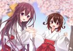 2girls alternate_costume bangs blush cherry_blossoms commission day hair_between_eyes hakama japanese_clothes kantai_collection kisaragi_(kancolle) long_hair long_sleeves looking_at_viewer miko multiple_girls mutsuki_(kancolle) nagasioo open_mouth outdoors petals purple_hair red_eyes red_hakama redhead short_hair skeb_commission violet_eyes wide_sleeves