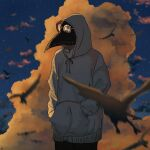 1other ambiguous_gender bird blue_sky blurry blurry_foreground clouds collarbone commentary cowboy_shot dusk hands_in_pockets highres hood hood_up hoodie ikura_donburi_(mmom_x) original plague_doctor_mask sky solo star_(sky) starry_sky white_hoodie