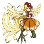 1girl animal_on_head bird bird_legs bird_on_head blonde_hair blouse dress feathered_wings giantcavemushroom hand_on_own_chest highres looking_at_viewer multicolored_hair neck_ribbon niwatari_kutaka on_head orange_dress outstretched_arm red_eyes red_ribbon redhead ribbon short_hair touhou twitter_username white_background white_blouse wily_beast_and_weakest_creature wings