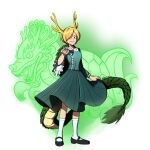 1girl antlers blonde_hair blue_bow blue_shirt bow brown_eyes dragon dragon_horns dragon_tail eyebrows_visible_through_hair frilled_sleeves frills giantcavemushroom green_skirt highres horns kicchou_yachie looking_at_viewer outstretched_arm scales shirt shoes short_hair skirt socks tail touhou twitter_username white_legwear wily_beast_and_weakest_creature