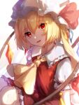 1girl bangs blonde_hair bow collar crystal dress eyebrows_visible_through_hair eyes_visible_through_hair flandre_scarlet hair_between_eyes hat hat_ribbon highres holding jewelry light looking_at_viewer mob_cap mozuno_(mozya_7) multicolored multicolored_wings open_mouth ponytail puffy_short_sleeves puffy_sleeves red_bow red_dress red_eyes red_ribbon ribbon shadow short_hair short_sleeves simple_background sitting smile solo touhou white_background white_headwear white_sleeves wings yellow_neckwear