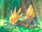 alternate_color bird claws closed_mouth commentary_request day eye_contact flower gen_2_pokemon gen_3_pokemon grass highres kikuyoshi_(tracco) light_beam looking_at_another lying manectric natu no_humans on_stomach outdoors pokemon pokemon_(creature) red_eyes shiny_pokemon tree