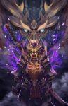armor fire fog full_armor gauntlets glowing glowing_eyes helmet highres isono_wataru japanese_armor kabuto magnamalo magnamalo_(armor) mask monster_hunter_(series) monster_hunter_rise pauldrons plume purple_fire shoulder_armor sword weapon weapon_on_back