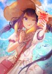 1girl absurdres artist_name bag bangs blue_sky blunt_bangs commentary dress floating_hair food food_on_face frills hair_ribbon handbag happyongdal hat highres holding holding_food holding_spoon hololive hololive_english long_hair ninomae_ina'nis one_eye_closed purple_hair ribbon shaved_ice sky solo spoon straw_hat summer symbol_commentary tentacle_hair tongue tongue_out twintails virtual_youtuber water_drop white_dress