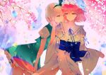 2girls backlighting bangs black_hairband black_ribbon blue_headwear blue_kimono blue_ribbon blurry bob_cut bow breasts charu_(mmg_g99) cherry_blossoms chromatic_aberration closed_mouth commentary_request contrapposto cowboy_shot depth_of_field eyebrows_visible_through_hair frills green_bow green_eyes green_skirt green_vest hair_between_eyes hair_ribbon hairband half-closed_eyes hand_on_another's_cheek hand_on_another's_face hat japanese_clothes kimono konpaku_youmu large_breasts leaning_forward lens_flare light_smile looking_at_another mob_cap multiple_girls outdoors petticoat pink_eyes pink_hair puffy_short_sleeves puffy_sleeves ribbon saigyouji_yuyuko short_hair short_sleeves silver_hair skirt skirt_set touhou vest yuri