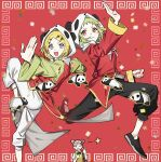 3girls animal_hood bangs black_pants blonde_hair blue_eyes candy chinese_border chinese_clothes clenched_hand commentary confetti double_bun eating fighting_stance food green_hair green_shirt gumi hair_ornament hairclip highres holding holding_candy holding_food holding_lollipop hood kagamine_rin leg_up light_blush lollipop looking_at_viewer mika-chan multiple_girls open_mouth outstretched_hand panda panda_hood pants pink_hair red_background red_eyes red_shirt red_vest shirt short_hair smile soyaka standing standing_on_one_leg star_(symbol) swept_bangs v v-shaped_eyebrows vest vocaloid white_pants yi_er_fan_club_(vocaloid)