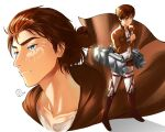 1boy backlighting belt blade blue_eyes brown_footwear brown_hair closed_mouth eren_yeager facial_mark jewelry key key_necklace light_rays machinery male_focus multiple_views necklace odyssey_21 older shingeki_no_kyojin signature simple_background standing tied_hair uniform white_background