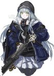 1girl agent_416_(girls_frontline) assault_rifle bangs beanie black_headwear blue_jacket breath commentary_request cowboy_shot cuffs facial_mark girls_frontline gloves green_eyes gun h&k_hk416 hair_ornament handcuffs hat highres hk416_(girls_frontline) holding holding_gun holding_weapon hood hood_down hooded_jacket jacket long_hair marche_mk14 mask mask_around_neck official_alternate_costume open_clothes open_jacket p416 pantyhose pleated_skirt respirator rifle silver_hair skirt solo tom_clancy's_the_division very_long_hair weapon white_background white_skirt