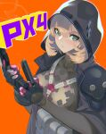 1girl ammunition_pouch bangs beretta_px4 blonde_hair breasts character_name commentary girls'_frontline gloves green_eyes gun hair_between_eyes handgun highres holding holding_gun holding_weapon hood hood_up hooded_jacket jacket large_breasts looking_at_viewer magazine_(weapon) mole mole_under_eye orange_background pouch px4_storm_(girls'_frontline) reloading short_hair solo sugimoto_takeshi trigger_discipline upper_body weapon