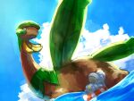afloat bagon bandana closed_eyes closed_mouth clouds commentary_request day fang gen_3_pokemon highres kikuyoshi_(tracco) lifebuoy lying no_humans on_back outdoors pokemon pokemon_(creature) relaxing sky tropius water