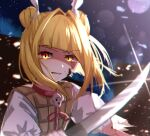 1girl arms_up bangs blonde_hair bow building city closed_mouth double_bun dress dress_bow eyebrows_visible_through_hair hair_ribbon hands_up haniwa_(statue) highres joutouguu_mayumi light looking_at_viewer mozuno_(mozya_7) multicolored multicolored_eyes night night_sky one-hour_drawing_challenge puffy_short_sleeves puffy_sleeves red_bow red_eyes ribbon shadow short_hair short_sleeves sky skyscraper solo sword teeth touhou weapon white_ribbon white_sleeves yellow_dress yellow_eyes