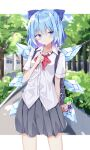 (9) 1girl blue_eyes blush bow bowtie buttons cirno collared_shirt commentary_request daiyousei eyebrows_visible_through_hair grey_skirt hair_bow highres ice ice_wings keychain kuraaken light_blue_hair red_neckwear school_uniform shirt short_sleeves skirt solo sweat touhou white_shirt wings